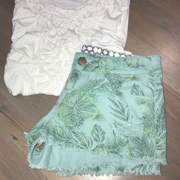 O'Neill Pants - ❤️O'Neill palm printed shorts blue/green frayed 7
